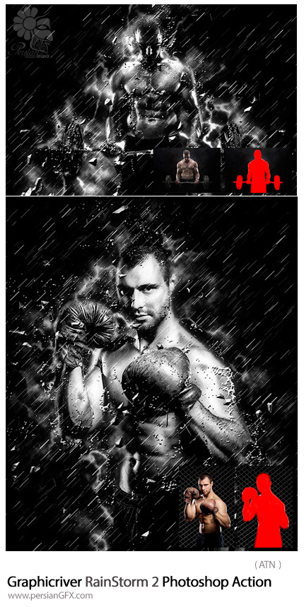 دانلود اکشن فتوشاپ ایجاد افکت رگبار بر روی تصاویر از گرافیک ریور - Graphicriver RainStorm 2 Photoshop Action