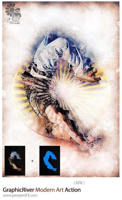 دانلود اکشن فتوشاپ ایجاد افکت هنری مدرن بر روی تصاویر از گرافیک ریور - GraphicRiver Modern Art Action