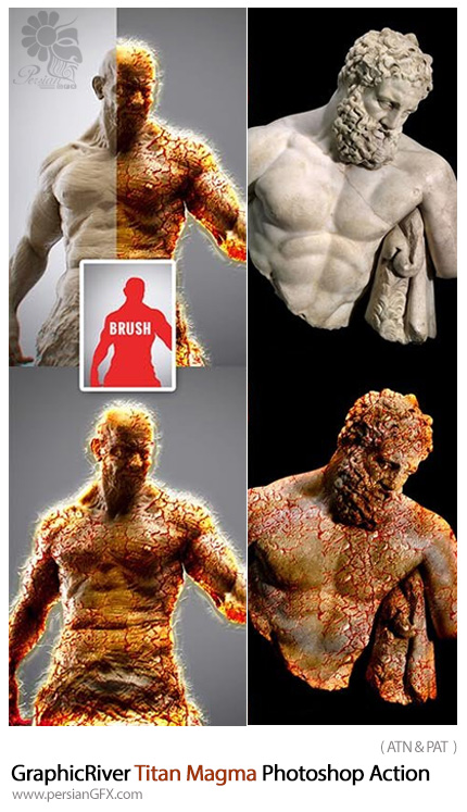 دانلود اکشن فتوشاپ ایجاد افکت مواد مذاب بر روی تصاویر از گرافیک ریور - GraphicRiver Titan Magma Photoshop Action