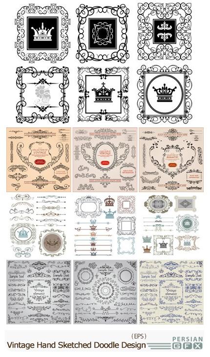 دانلود تصاویر وکتور عناصر طراحی، قاب و حاشیه های گلدار تزئینی - Stock Vectors Vintage Hand Sketched Doodle Design Elements