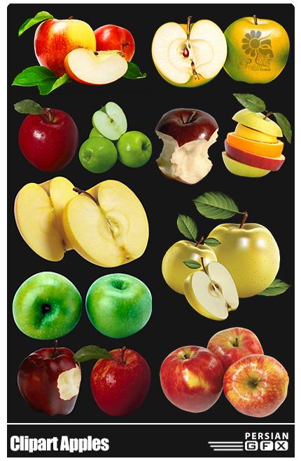 دانلود کلیپ آرت سیب، سیب سبز، سیب قرمز، سیب زرد - Clipart Apples