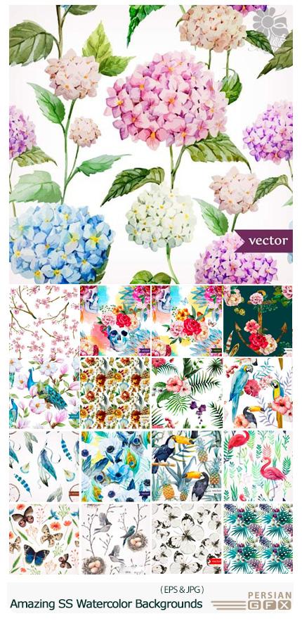 دانلود تصاویر وکتور پس زمینه های آبرنگی متنوع از شاتر استوک - Amazing Shutterstock Watercolor Backgrounds