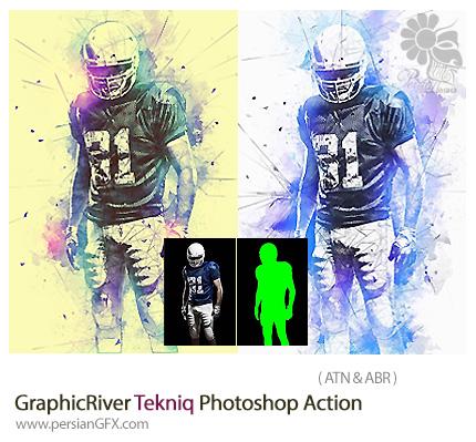 دانلود اکشن فتوشاپ ایجاد افکت انتزاعی بر روی تصاویر از گرافیک ریور - GraphicRiver Tekniq Photoshop Action