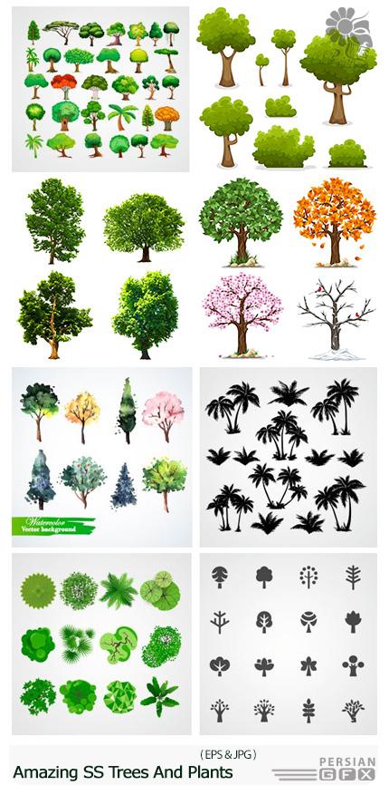 دانلود تصاویر وکتور مجموعه درخت های متنوع از شاتر استوک - Amazing ShutterStock Trees And Plants