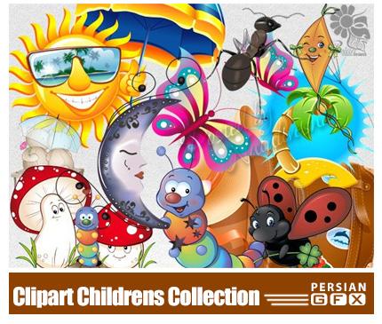 دانلود تصاویر کلیپ آرت عناصر طراحی کودکانه وکارتونی، خرس، پروانه، عروسک - Clipart Childrens Collection