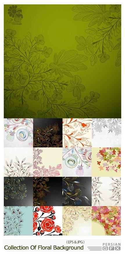 دانلود تصاویر وکتور پس زمینه های گلدار تزئینی - Collection Of Vector Floral Background Picture Ornament Calligraphic Elements