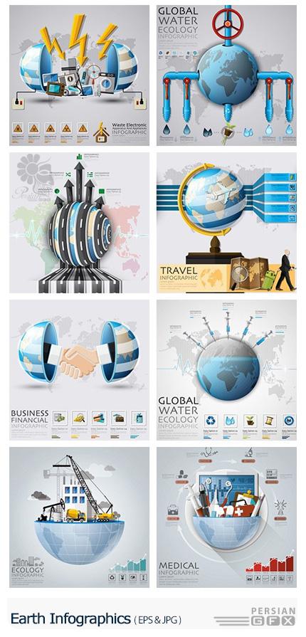 دانلود تصاویر وکتور نمودارهای اینفوگرافیکی کره زمین - Earth Infographics