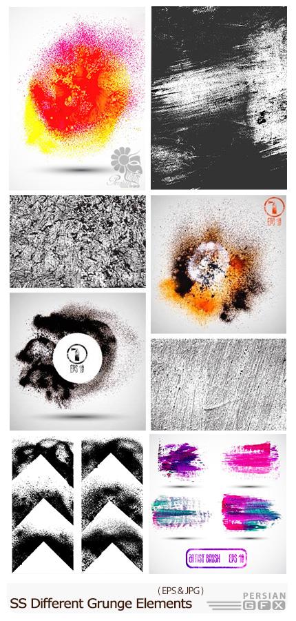 دانلود تصاویر وکتور عناصر طراحی گرانج از شاتر استوک - Amazing ShutterStock Different Grunge Elements