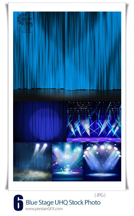 دانلود تصاویر با کیفیت صحنه یا استیج آبی رنگ - Blue Stage UHQ Stock Photo