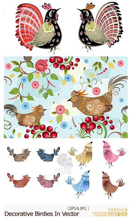 دانلود تصاویر وکتور پرندگان تزئینی متنوع - Decorative Birdies In Vector