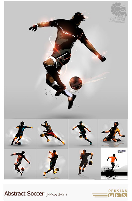 دانلود تصاویر وکتور انتزاعی فوتبالیست - Abstract Soccer