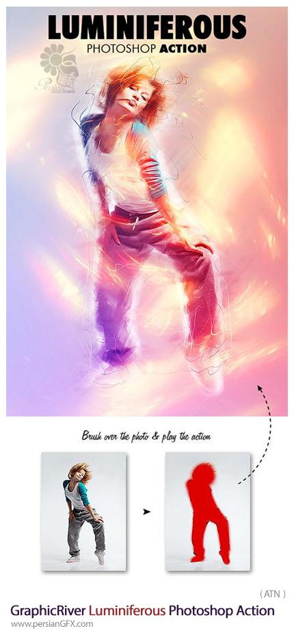 دانلود اکشن فتوشاپ ایجاد افکت درخشان بر روی تصاویر از گرافیک ریور - GraphicRiver Luminiferous Photoshop Action