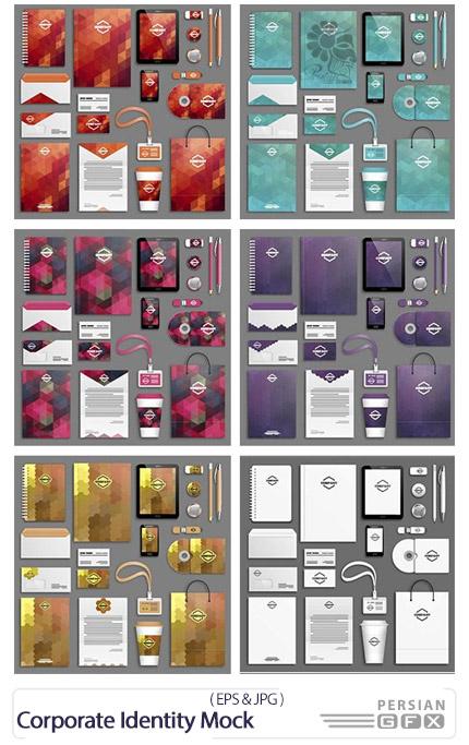 دانلود تصاویر وکتور ست اداری، کارت ویزیت، سربرگ، دی وی دی، بروشور و ... - Corporate Identity Mock