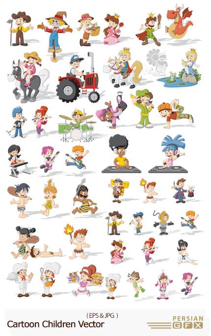 دانلود تصاویر وکتور کارتونی کودکان - Cartoon Children Vector