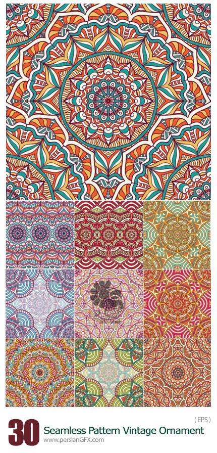 دانلود تصاویر وکتور پترن با طرح های گلدار تزئینی - Seamless Pattern Vintage Ornament Decorative Elements Vector