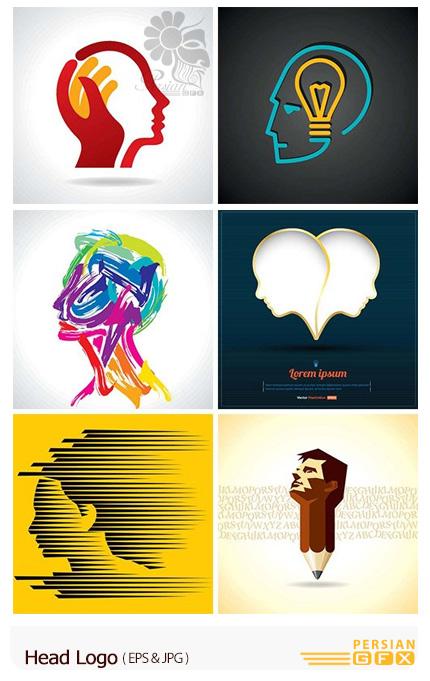 دانلود تصاویر وکتور آرم و لوگوی سر انسان - Head Logo