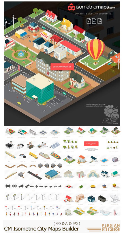دانلود تصاویر وکتور نقشه و آیکون های ایزومتریک شهر - CM Isometric City Maps Builder