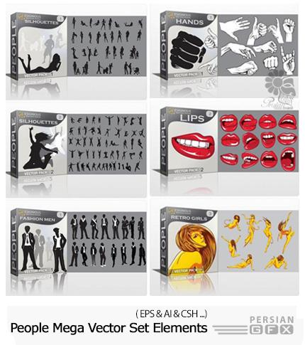دانلود مجموعه بزرگ تصاویر وکتور مردم و عناصر طراحی متنوع - People Mega Vector Set 379 Premium Elements