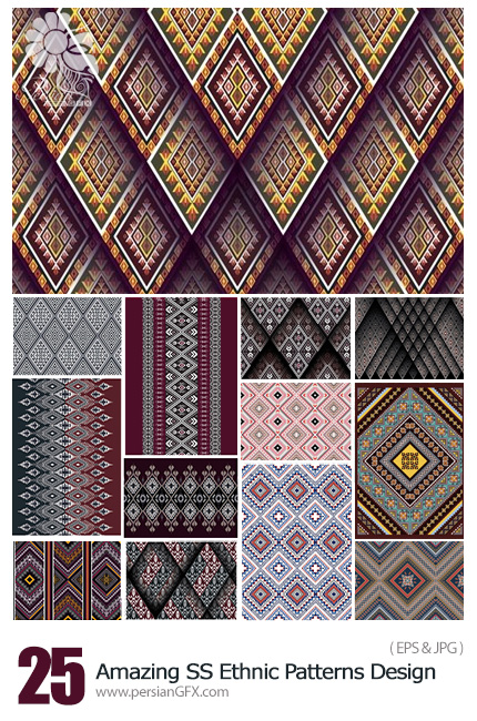 دانلود تصاویر وکتور پترن قبیله ای با طرح و رنگ های متنوع از شاتر استوک - Amazing ShutterStock Ethnic Patterns Design