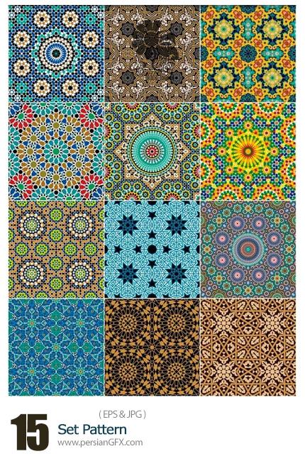 دانلود تصاویر وکتور پترن های اسلیمی متنوع - Set Pattern