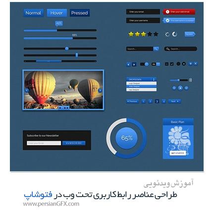 دانلود آموزش طراحی عناصر رابط کاربری تحت وب در فتوشاپ SkillShare - SkillShare Design Simple GUI kit In Photoshop For Beginners