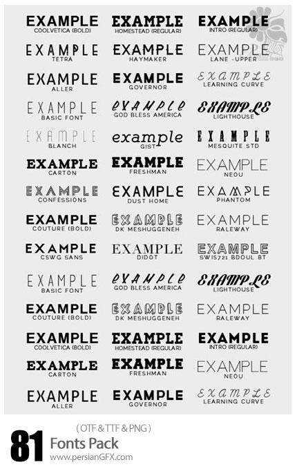 دانلود فونت های انگلیسی متنوع - 81 Fonts Pack
