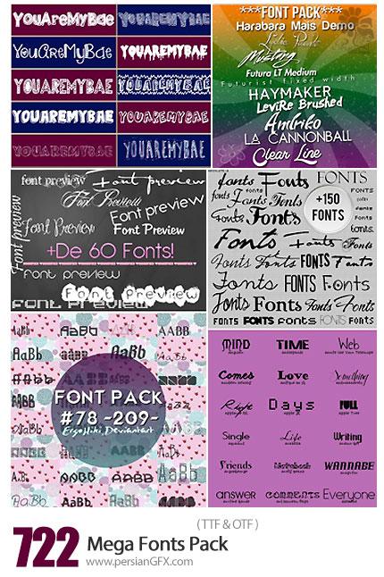 دانلود مجموعه فونت های انگلیسی متنوع - Mega 722 Fonts Pack