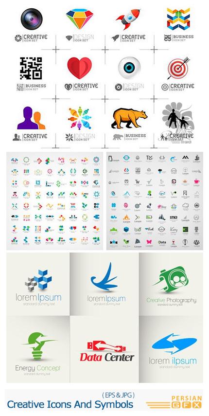 دانلود تصاویر وکتور آرم و لوگوی متنوع از شاتراستوک - Creative Icons And Symbols