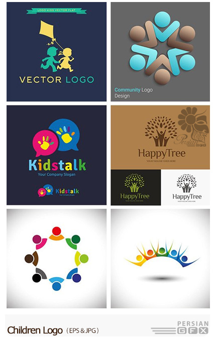 دانلود تصاویر وکتور آرم و لوگوی کودکان - Children Logo