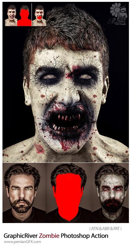 دانلود اکشن فتوشاپ ایجاد افکت زامبی ترسناک بر روی تصاویر از گرافیک ریور - GraphicRiver Zombie Photoshop Action