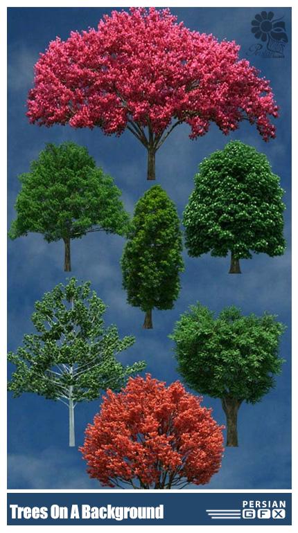دانلود تصویر کلیپ آرت درختان متنوع در پس زمینه شفاف - Trees On A Transparent Background