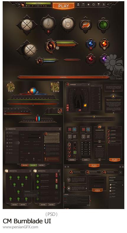 دانلود تصاویر لایه باز UI عناصر طراحی بازی - CM Burnblade UI