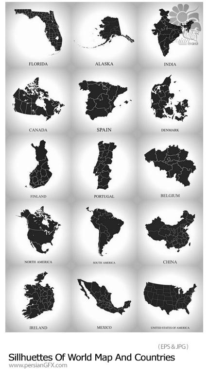 دانلود تصاویر وکتور سایه نقشه جهان و کشورهای مختلف - Sillhuettes Of World Map And Countries