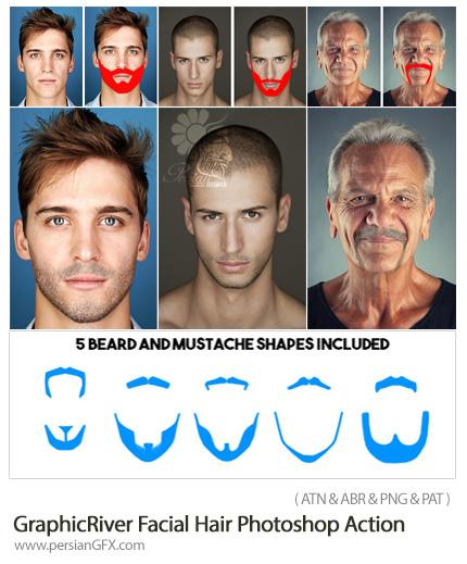 دانلود اکشن فتوشاپ ایجاد ریش بر روی صورت از گرافیک ریور - GraphicRiver Facial Hair Photoshop Action