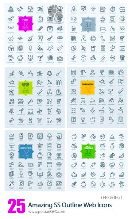 دانلود تصاویر وکتور آیکون های متنوع وب از شاتر استوک - Amazing ShutterStock Outline Web Icons