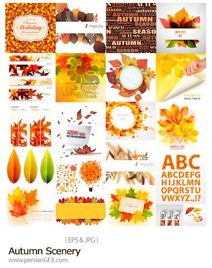 دانلود تصاویر وکتور منظره و عناصر تزئینی پاییزی - Autumn Scenery