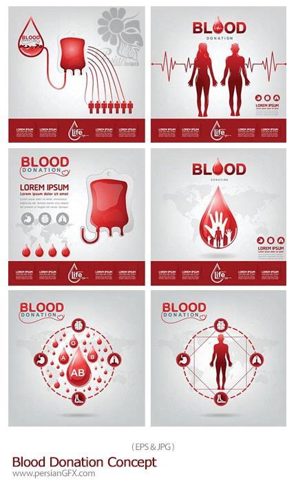 دانلود تصاویر وکتور اهدای خون - Blood Donation Concept