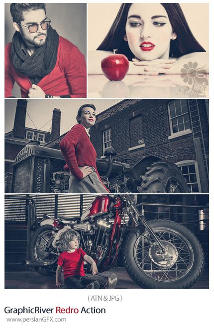 دانلود اکشن حذف رنگ های عکس غیر از رنگ قرمز از گرافیک ریور - GraphicRiver Redro Action