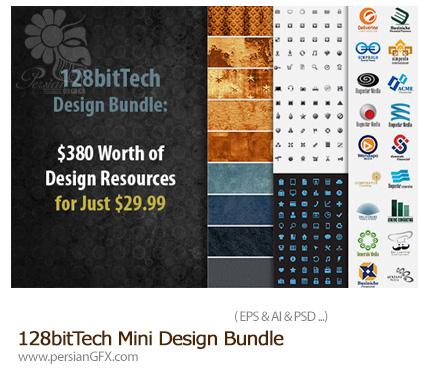 دانلود مجموعه عناصر طراحی متنوع، آرم و لوگو، آیکون، تکسچر و ... - 128bitTech Mini Design Bundle