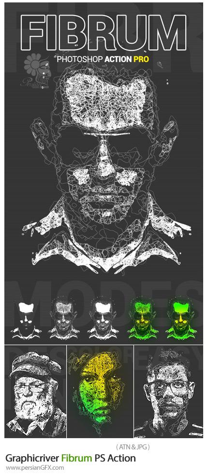 دانلود اکشن فتوشاپ ایجاد افکت خط خطی بر روی تصاویر از گرافیک ریور - Graphicriver Fibrum PS Action