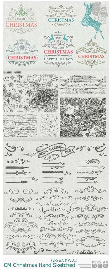 دانلود مجموعه تصاویر وکتور عناصر تزئینی کریسمس - CM Christmas Hand Sketched