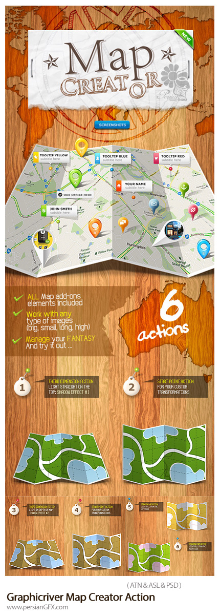 دانلود اکشن فتوشاپ ساخت نقشه از گرافیک ریور به همراه ویدئوی آموزشی - Graphicriver Map Creator Action