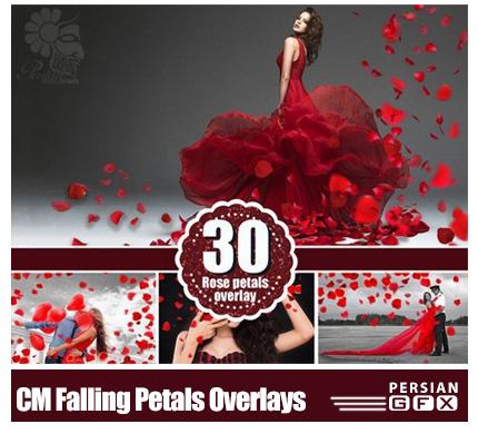 دانلود تصاویر کلیپ آرت فتوشاپ گلبرگ های قرمز پراکنده مناسب برای عکاسان - CM Falling Petals Photoshop Overlays