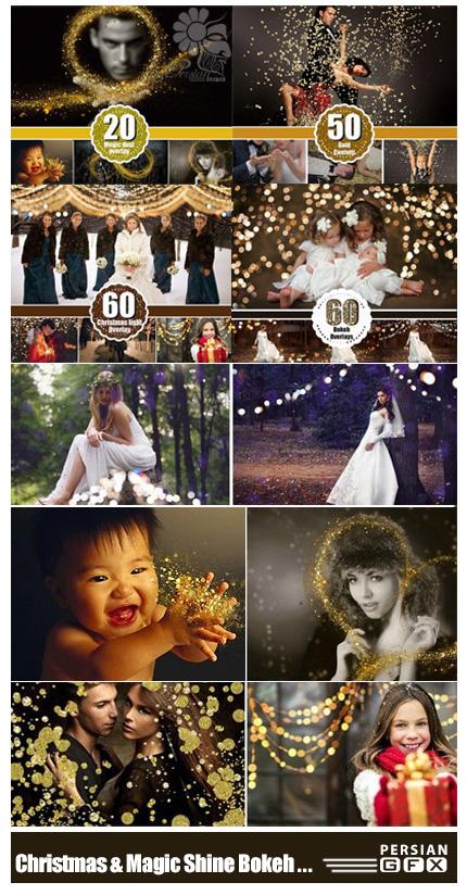 دانلود مجموعه تصاویر کلیپ آرت بوکه نورانی کریسمس، بوکه درخشان، گرد و غبار درخشان و ذرات طلایی درخشان - CM Christmas Bokeh And Magic Shine Bokeh Dust Gold Glitter
