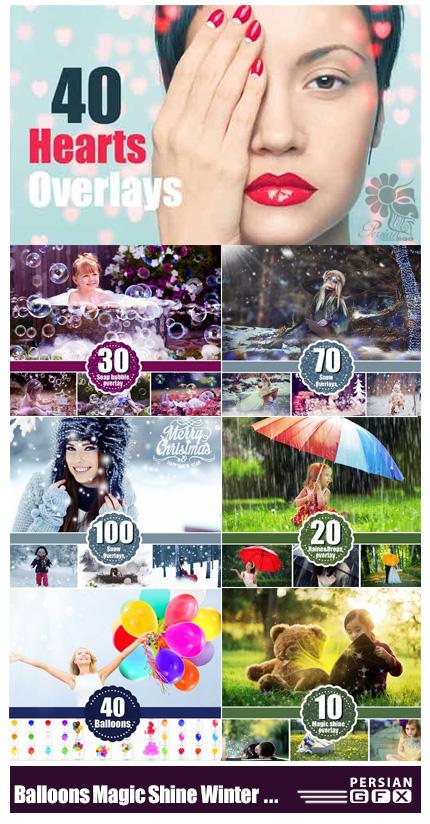 دانلود مجموعه کلیپ آرت عناصر طراحی بادکنک، ذرات درخشنده جادویی، برف زمستانی، باران، حباب و قلب - CM Balloons Magic Shine Winter Snow Rain Bubbles Hearts Overlays