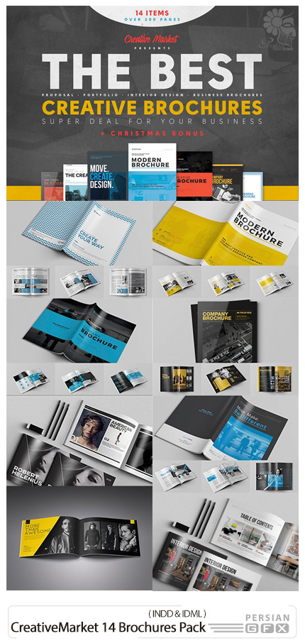 دانلود 14 قالب آماده بروشور با فرمت ایندیزاین - CreativeMarket 14 Brochures Pack