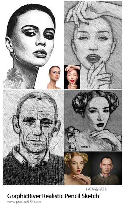 دانلود اکشن فتوشاپ تبدیل تصاویر به نقاشی با مداد از گرافیک ریور - GraphicRiver Realistic Pencil Sketch