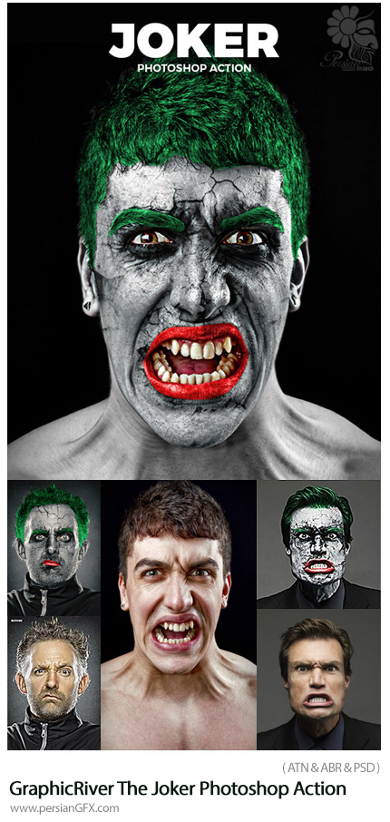 دانلود اکشن فتوشاپ تبدیل تصاویر به جوکر از گرافیک ریور - GraphicRiver The Joker Photoshop Action