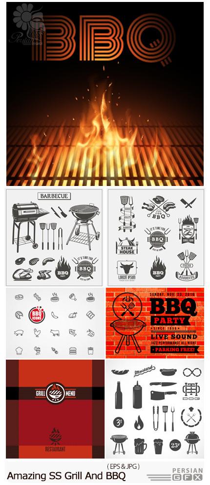 دانلود تصاویر وکتور باربیکیو، استیک، سرخ کن و ... از شاتر استوک - Amazing Shutterstock Grill And BBQ