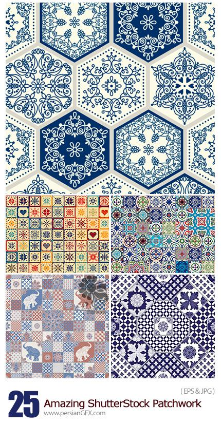 دانلود تصاویر وکتور پترن چهل تکه با طرح های متنوع از شاتر استوک - Amazing ShutterStock Patchwork